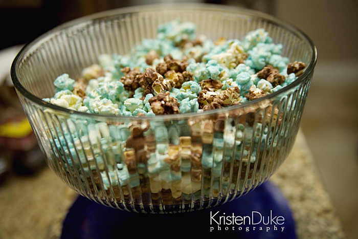 blue brown and white popcorn treat