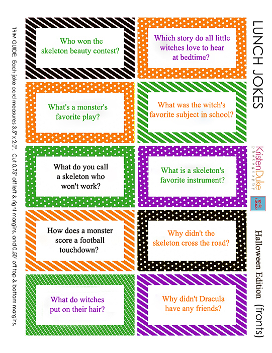 Halloween Jokes for Kids Printable Halloween Lunch Box Jokes