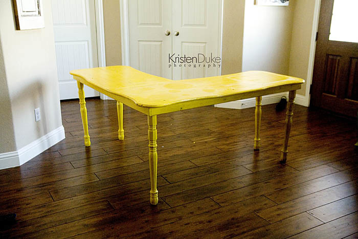 yellow corner desk