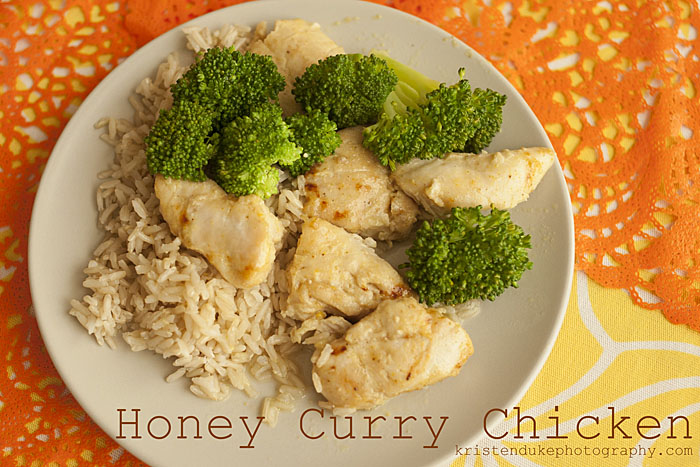 Honey Curry Chicken on a plate with rice and brocolli