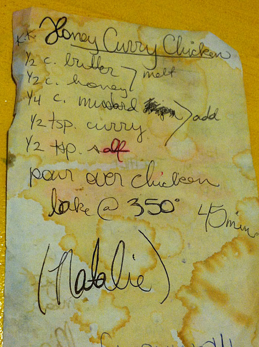 Honey Curry Chicken recipe on old paper